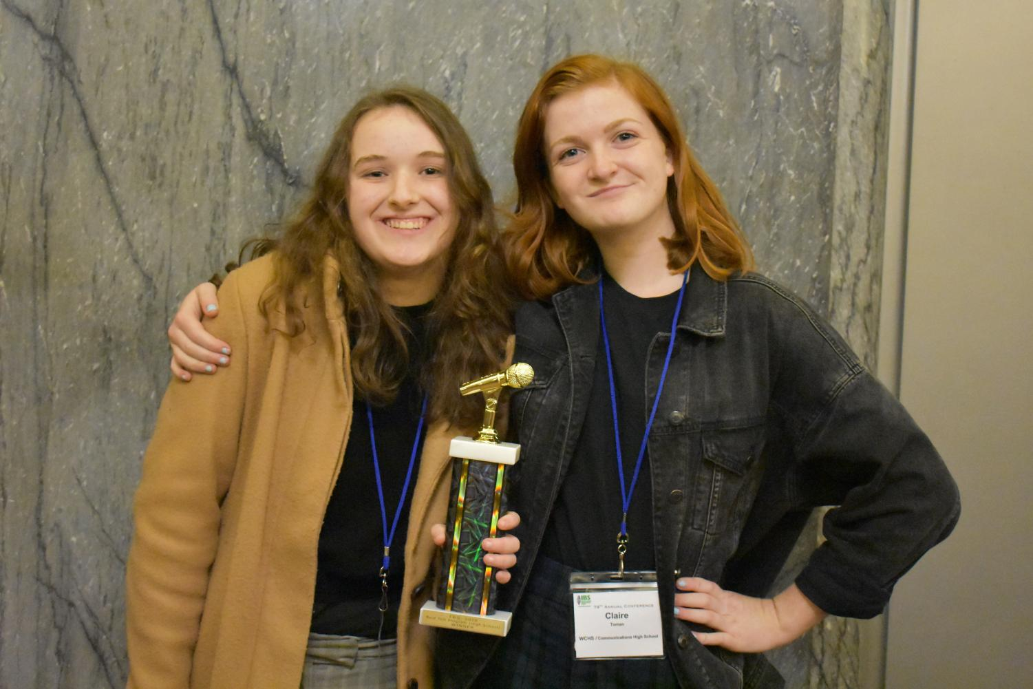Seniors Michelle Moroses of Wall, left, Clare Toman of Spring Lake Heights and Merina Spaltro of Allentown (not pictured) received the Best Talk Program award at the IBS Awards on Friday, March 1.