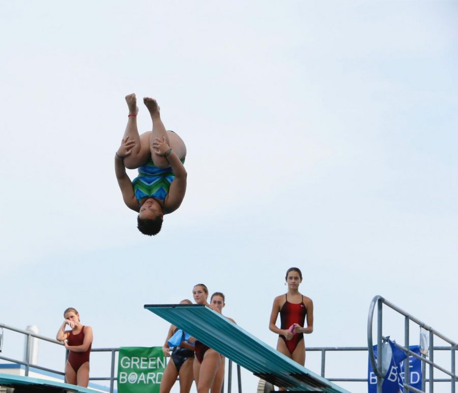 Lin competes at the Amateur Athletic Union Diving Nationals at Northside Swim Center in San Antonio, Texas in July of 2018.