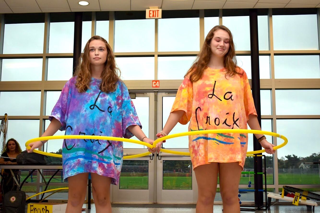 Juniors Erin Carr of Wall and Beatrice Karron of Manasquan pose as La Croix Water for the annual Halloween Costume Parade.