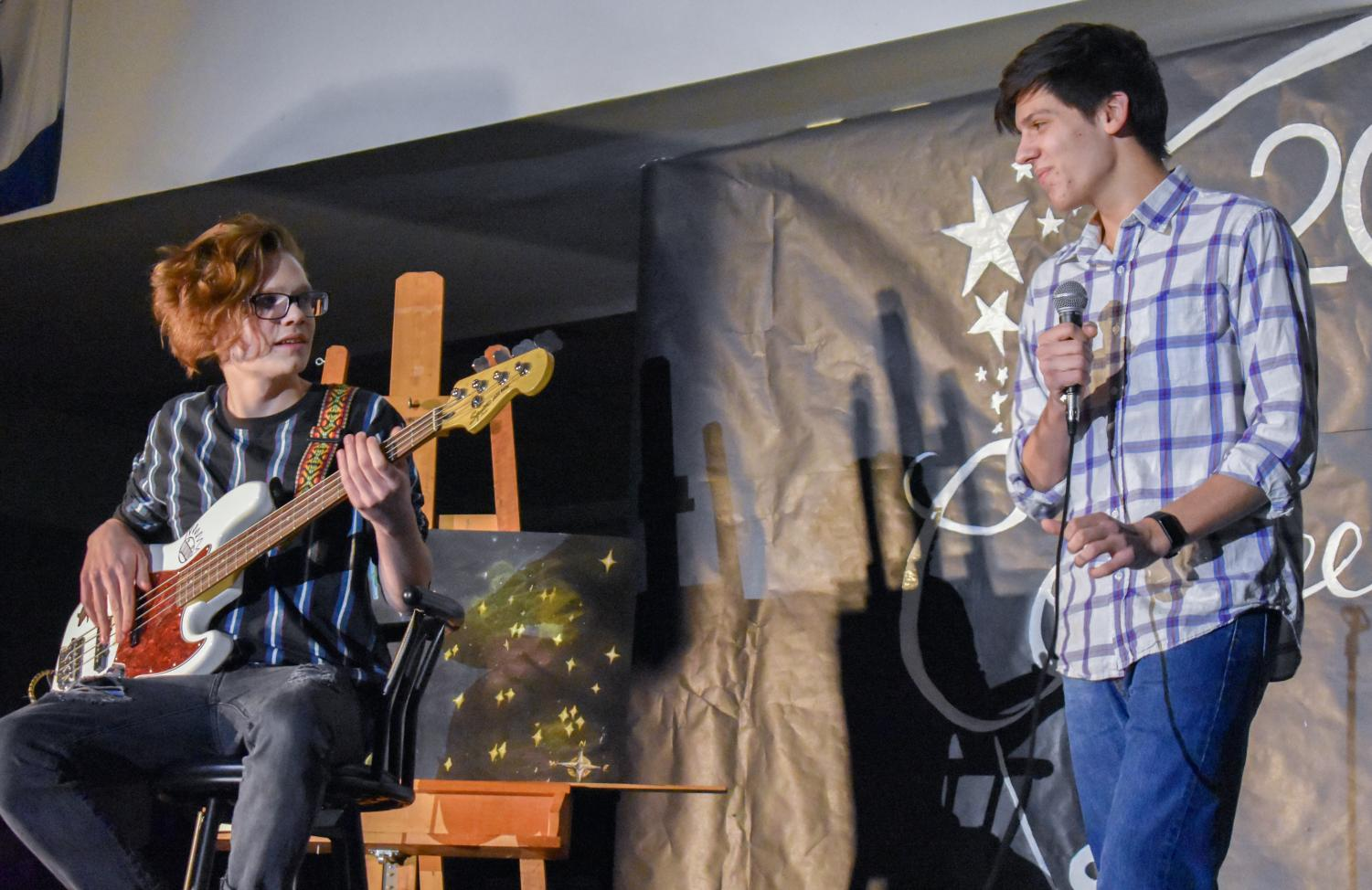 Seniors Michael Landolfi of Tinton Falls and Dane Tedder of Ocean perform at Coffeehouse.