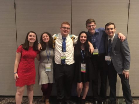 Cohen, second from left, poses with other USY Co-Regional Executive Board members in April 2019 at the Westin Hotel in Princeton, NJ. after being elected to their positions.