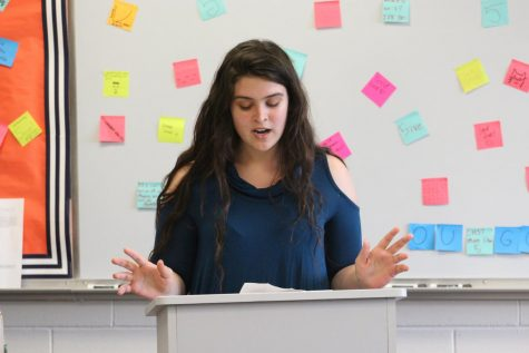 Senior Julia Rocco of Marlboro gives a speech during CCC elections in 2018. This year, the way that the club will pick a new council will be different due to COVID-19.