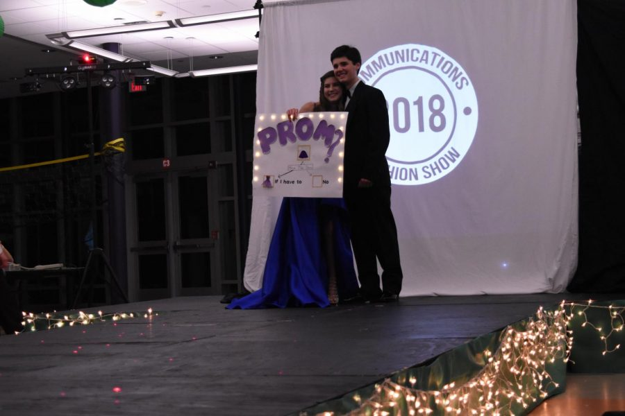 Class of 2019 members Katherine Jemas and Kyle Wheeler at the 2019 CHS fashion show, where Wheeler 'promposed' to Jemas