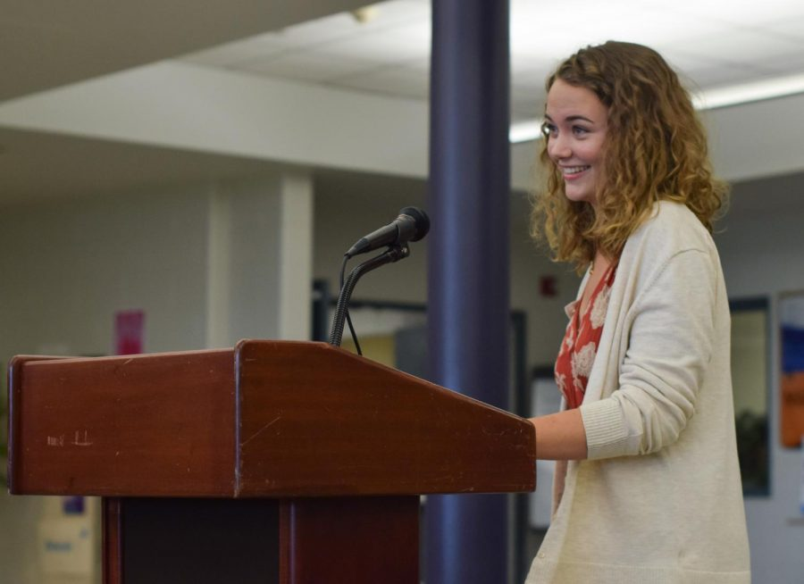 Junior Brigid McCarthy of Manasquan giving her election speech at the SGA council elections in 2019. This year, the elections were held digitally.