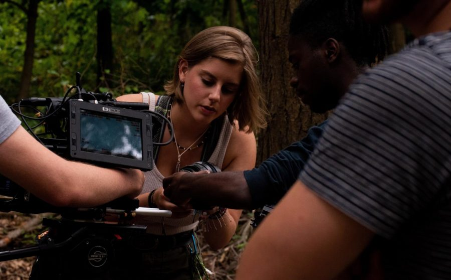 CHS Alumni Abi Karl works as second assistant camera on the set for the BFA film Bert Nondorf, Skunk Detective.