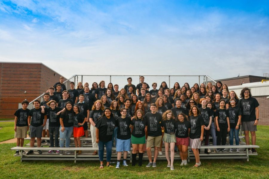 The Class of 2020 stands together on the first day of school in 2019 to take a class photo.