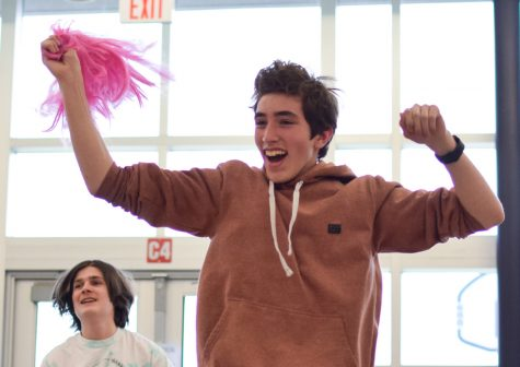 A sophomore boy dances with his class during the 2019 Lip Sync. He is not wearing a wig, but imagine if he was? It would be so hilarious.