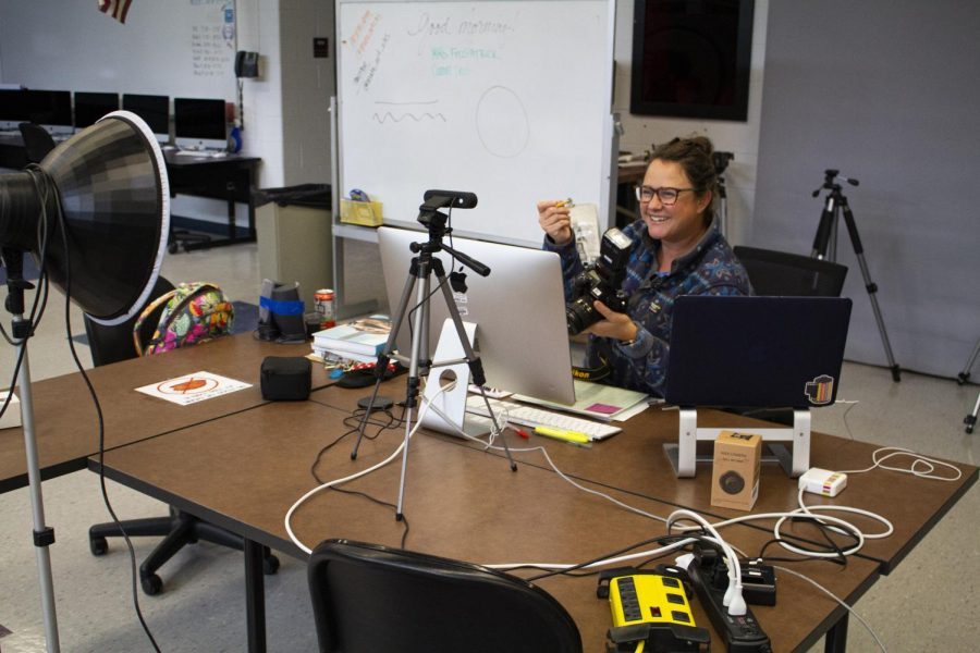 Photography teacher Amanda Fitzpatrick describes the parts of a camera during a virtual lesson on Sept. 18. Most CHS teachers are using Webcams and broadcasting virtually from their classrooms through at least the beginning of October.
