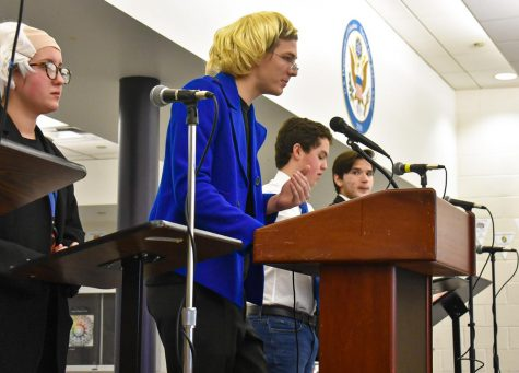 The Junior State of America (JSA), which held the mock Democratic primary debate shown here, is one of the clubs not able to officially continue this school year.