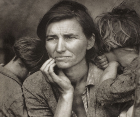 "Florence Owens Thompson's children cling to her in iconic photograph ""Migrant Mother, Nipomo, California."""