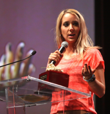 "YouTuber Jenna Marbles speaks at VidCon 2012 in Anaheim, Calif. Fans say she was unfairly ""canceled"" for an incident she was not at fault for."