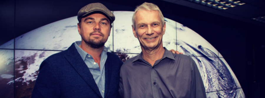 Leonardo DiCaprio, left, visits Goddard Space Flight Center to discuss Earth science with meteorologist and astronaut Piers Sellers.