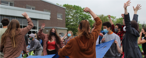 CHS students participate in the 2021 Spring Spirit Week Relay Race, the second spirit week event after numerous event cancellations and alterations.